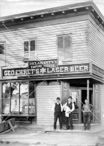 Papa and friends at a bar on the northwest corner of 21st Street and Astoria Boulevard c. 1910.