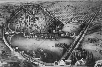 Panoramic view of Calvary Cemetery c. 1865 showing propery acquired by the Roman Catholic archdiocese of New York after burials were outlawed in lower Manhattan.