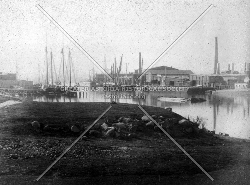 Rare image of Newtown Creek at the Brooklyn-Queens border (c. 1883). Pottery Beach