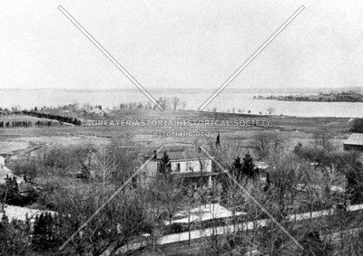1869 view of Bowery Bay, Queens.  The approximate location of the Poor Farm (Bouwerie) in the foreground