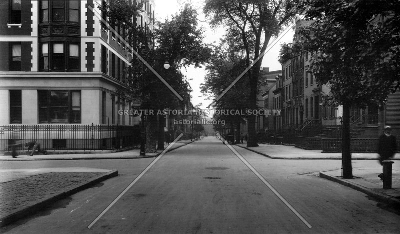 Neat view of well-to-do homes at Brooklyn Heights, specifically the corner of Willow and Clark Streets in 1915