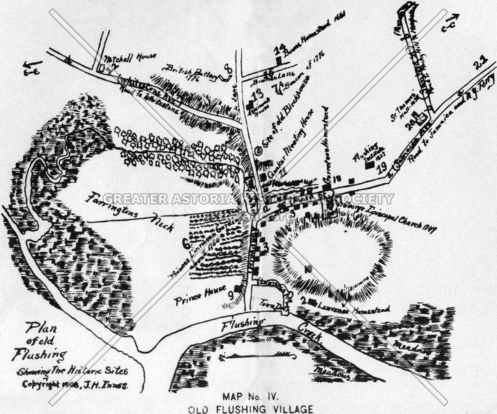 Map of Flushing Village at the head of Flushing Bay (c  late 1700s)