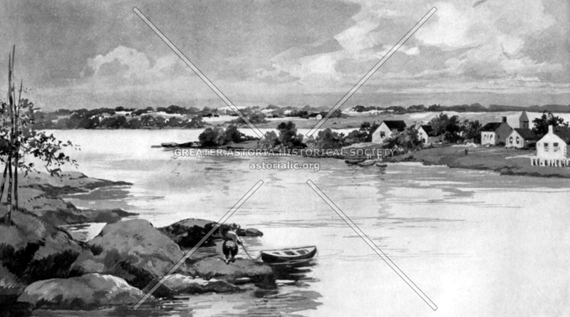 Imaginitive view of the early settlement at Nieuw Haarlem (New Harlem) from Morrisania in the Bronx
