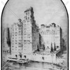 Watergate, a riverfront luxury apartment at 49th Street. The garden and dock on the River were soon to be replaced by the East River Drive.