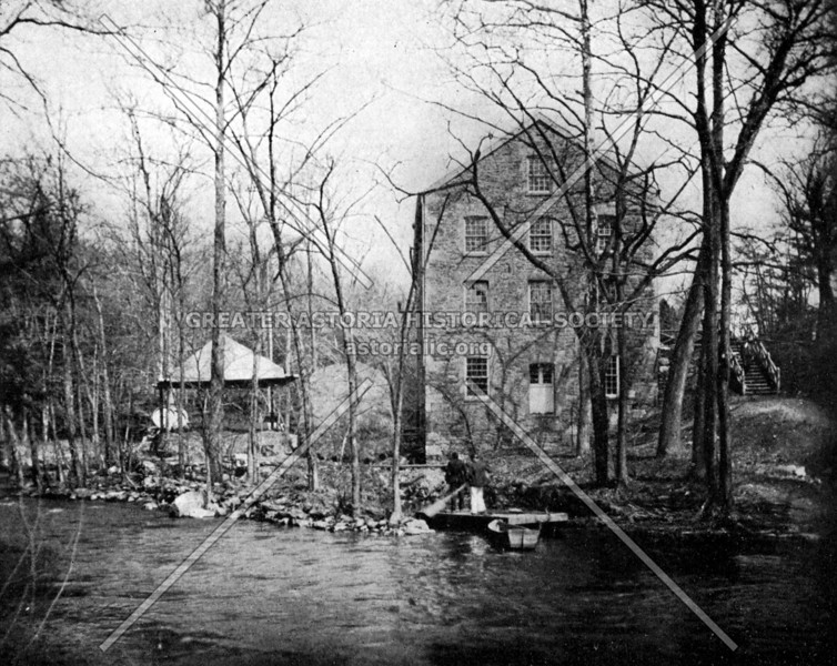 The Old Lorillard Snuff Mill standing on the east bank of a narrow gorge of the Bronx River in Bronx Park