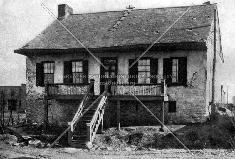 Duryea farmhouse, which stood at the foot of Meeker Avenue near Penny Bridge, the oldest dwelling on Newtown Creek. (Demolished in the early 20th century)