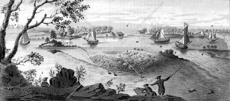 Early view of Hell Gate (1775) looking east from Gracie Mansion. Morrisania in the Bronx is to the left.