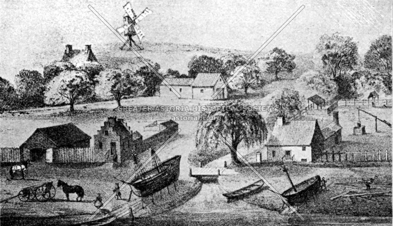 One of the earliest images of shipbuilding in New York showing vessels drawn up on dry dock, at T. Smit's Vly (Cove), at the foot of Maiden Lane in Manhattan