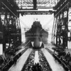 Photo of the 1944 launching of the USS Missouri built at the Brooklyn Navy Yard