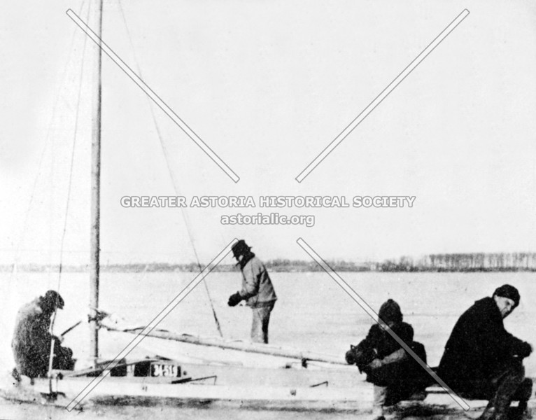 Once popular winter pastimes on Flushing Bay: ice fishing and ice sailing.