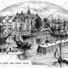 Depiction of the Staadt House (city house) located on Pearl Street near Counties Slip, administrative seat of New Amsterdam
