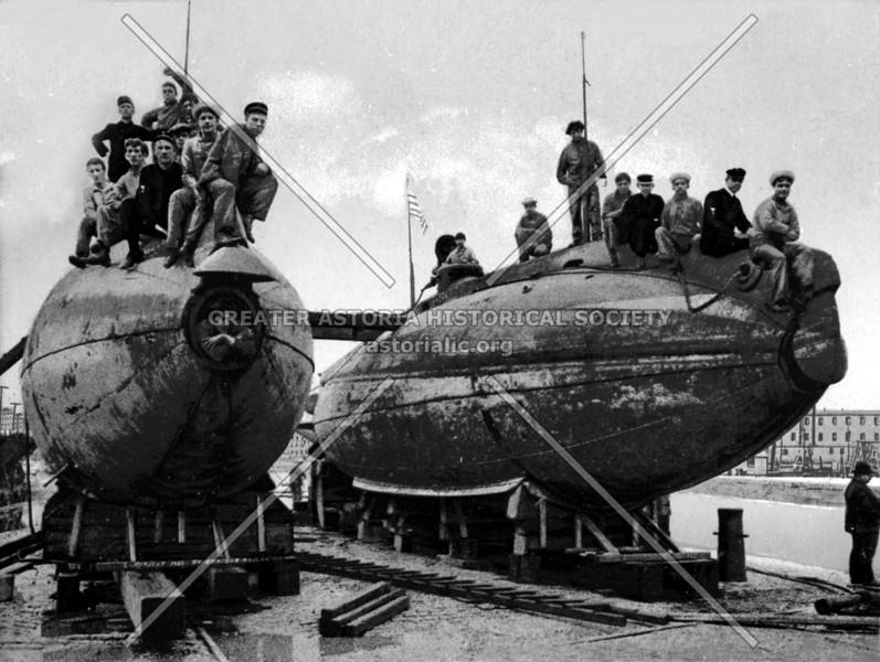 Submarine boats Porpoise and Shark wintering at the Brooklyn Navy Yard