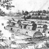 Bark-covered native longhouses in New York area before European settlement.