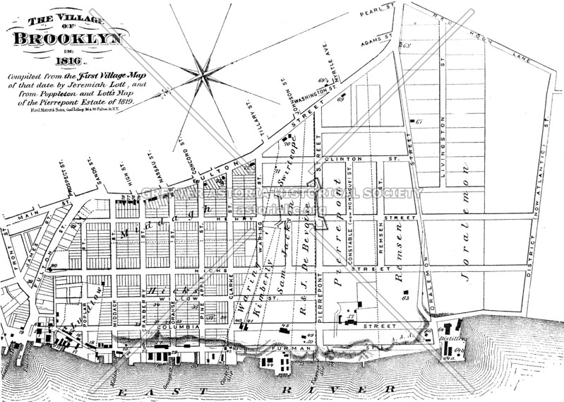 Early map (1816) of the Village of Brooklyn not long after its incorporation was approved by the state legislature