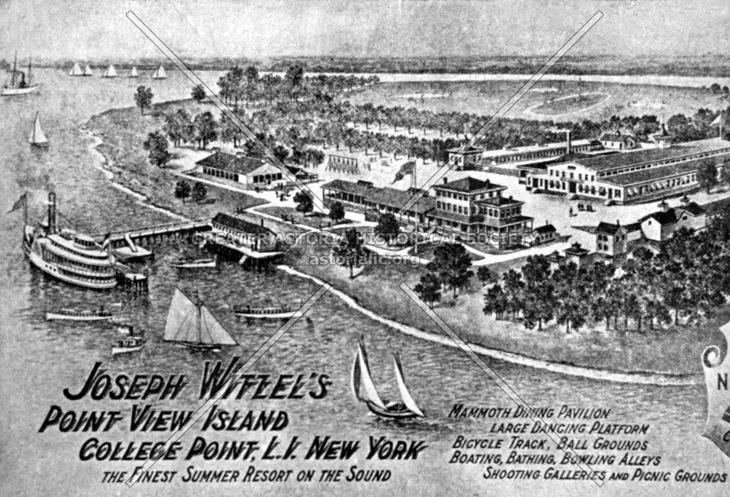 Postcard featuring Joseph Witzel's Point View Island in College Point, which drew crowds from all over the Greater City and featured many summer entertainments.