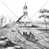 Depiction of the 1776 Dutch church standing on Fulton Street
