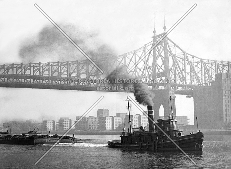 Gritty reality of the East River, e.g., towing barges past Welfare Island and an omnipresent tugboat chugging along