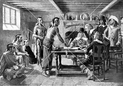 Depiction of 1642 treaty between Jonas Bronck (namesake of the Bronx) and the Weckquaesgeek Indians, which would eventually extinguish native claims to lands on the river