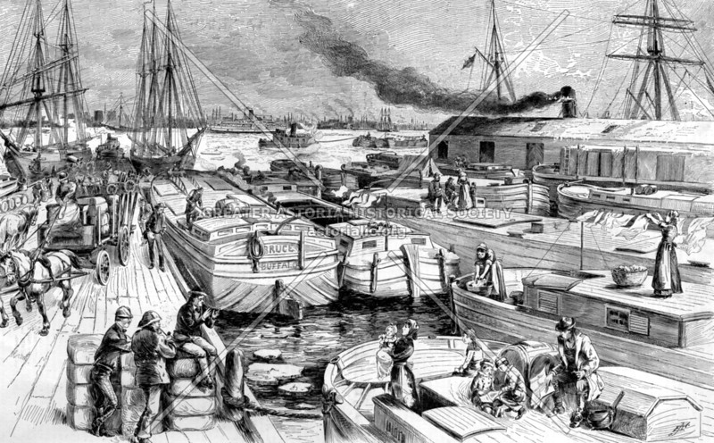 Depiction of canal boats in 1884