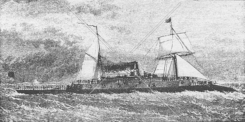 Depiction of the ironclad ship the Dunderberg, example of the great 19th-century wooden men of war built at the Brooklyn Navy Yard