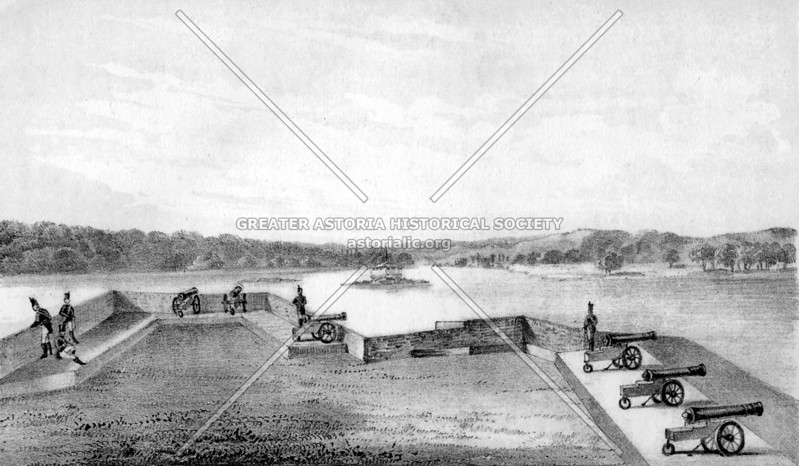 Depiction of Fort Stevens, named after Astoria's General Ebenezer Stevens (location was later the Hallet's Point Lighthouse and now is the Whitey Ford (Baseball) Field
