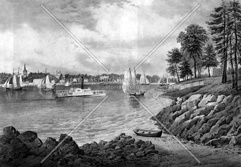 Currier and Ives print showing Astoria Village from 86th Street in Manhattan