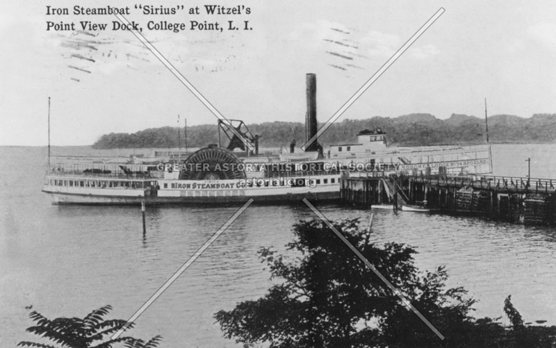 """Post card view of the steamboat """"Sirius"""" docked at Witzel's Point View Beer Garden in College Point"""