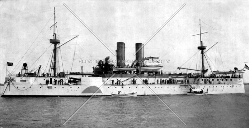The USS Maine launched at the Brooklyn Navy yard in the 1890s.