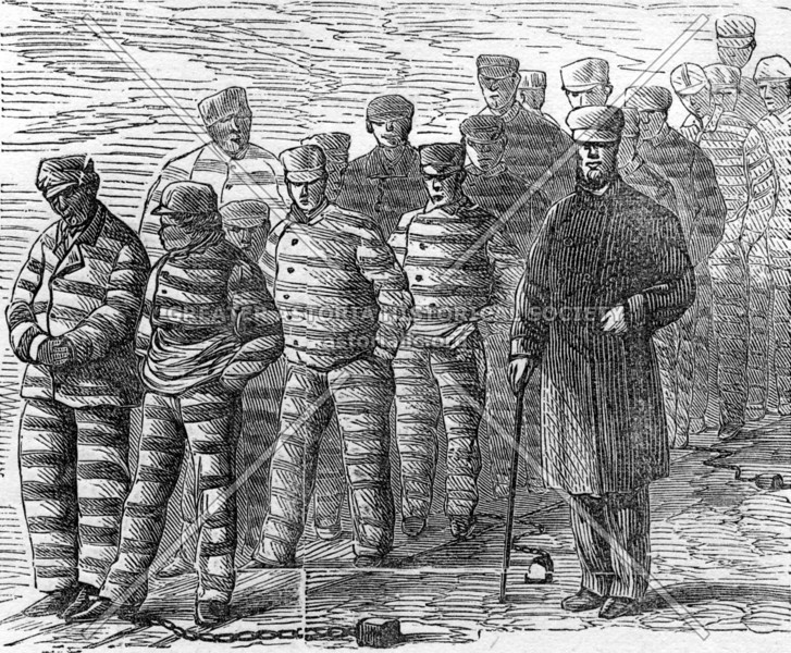Depiction of male convicts in the Blackwells Island penitentiary