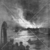 A depiction of one of a series of destructive fires on Newtown Creek.  Civic reformers called for measures to rid the East River and its tributaries of the flammable chemicals illicitly dumped into the water by industries lined up there.