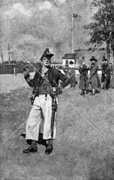 Fanciful depiction of a swaggering privateer in New York during the early days of the Republic