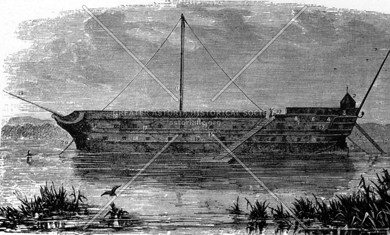 The Jersey in Wallabout Bay, a notorious prison ships for American POWs during the American Revolution.