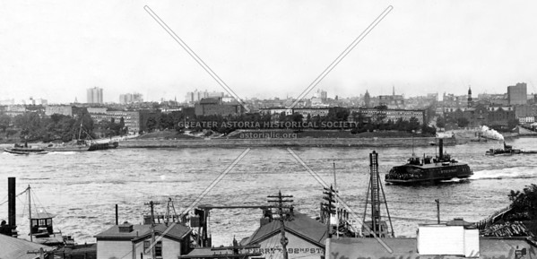 Depiction of the kind of ferry service taking place between 1843 and 1918, made by the East River Ferry Company to and from Manhattan.  Gracie Mansion and an early Carl Schurz park in the background.