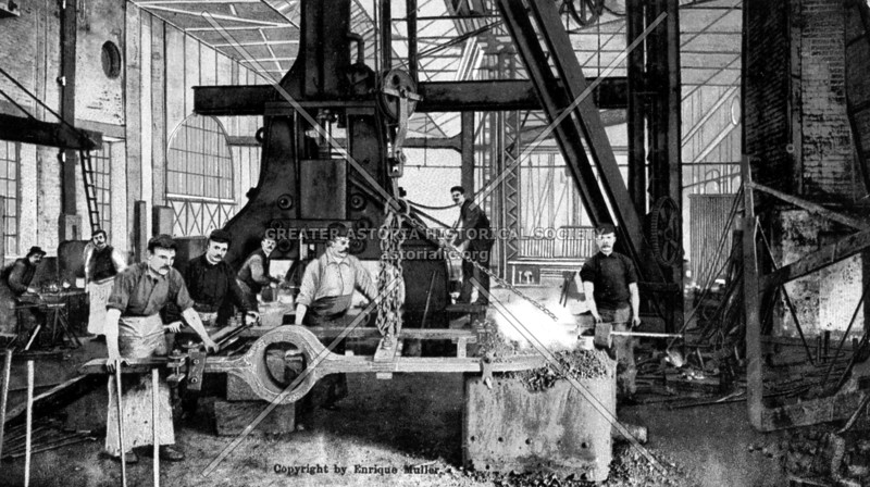 Foundry workers at the Brooklyn Navy Yard forging components for a high pressure steam engine