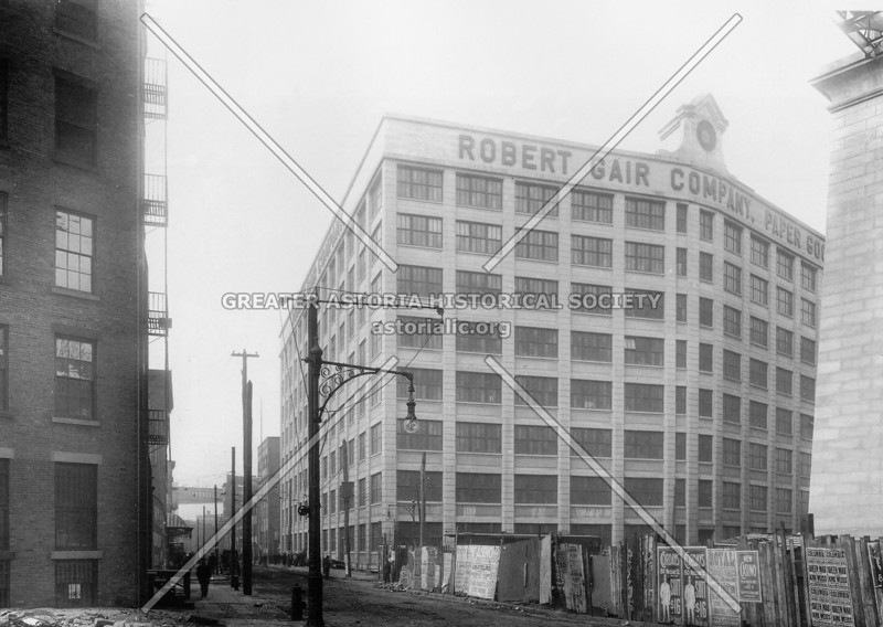 1909 view of the Robert Gair Company Paper Goods building on Front Street