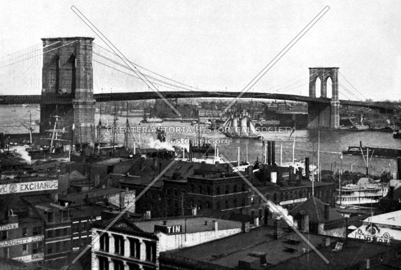 A view of the just completed Brooklyn Bridge with all its grace.