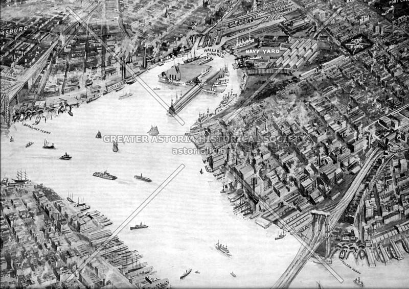 Aerial perspective, prior to the Manhattan Bridge, showing Brooklyn Navy Yard