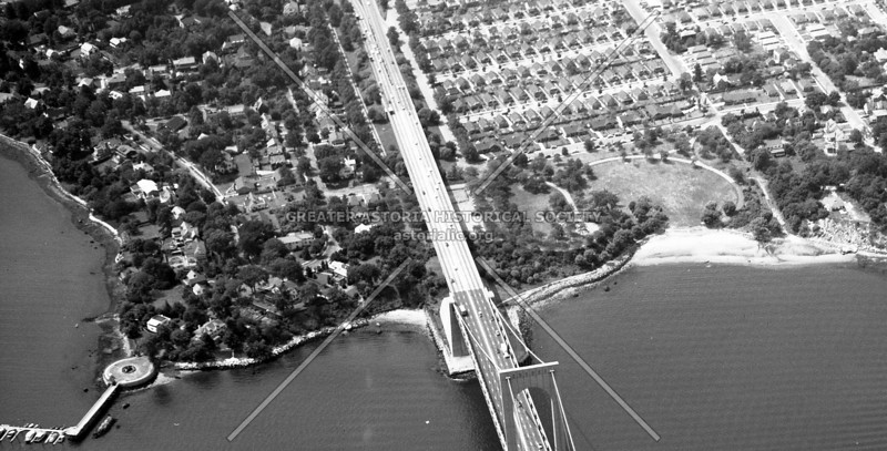 Circa 1955 overhead view of part of the East River bordering the Bronx