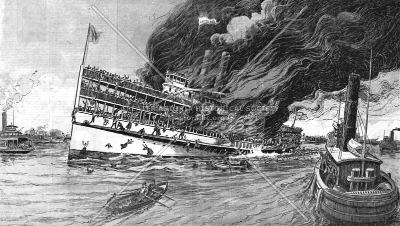 General Slocum's horrible burning on the East River in mid-June 1904.  Over 1,000 people perished within a few hundred feet of shore.