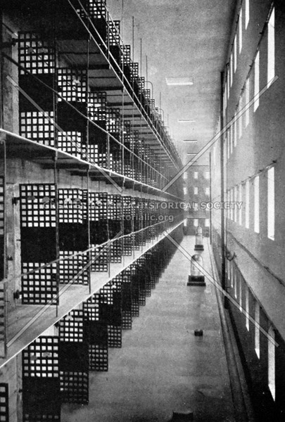 Photo of the 600 foot long Blackwells Island penitentiary that housed nearly 1,000 inmates