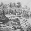 Quaint view (c. 1853) depicting the actual Turtle Bay and Beekman mansion
