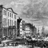 "Depiction of the Tontine Coffee House that first opened in the 1790s at the corner of Wall and Water Streets.  (As legend would have it, this financial activities taking root in this area would ultimately render it as the ""birthplace"" of Wall Street.)"