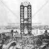 The Manhattan Bridge during an early phase of its construction