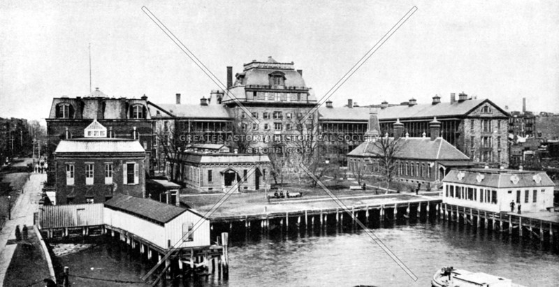 Bellevue Hospital in 1879.  Having opened in 1736, Bellevue was the first hospital in the country to use hypodermic syringes and the first to develop a hospital-based ambulance service.