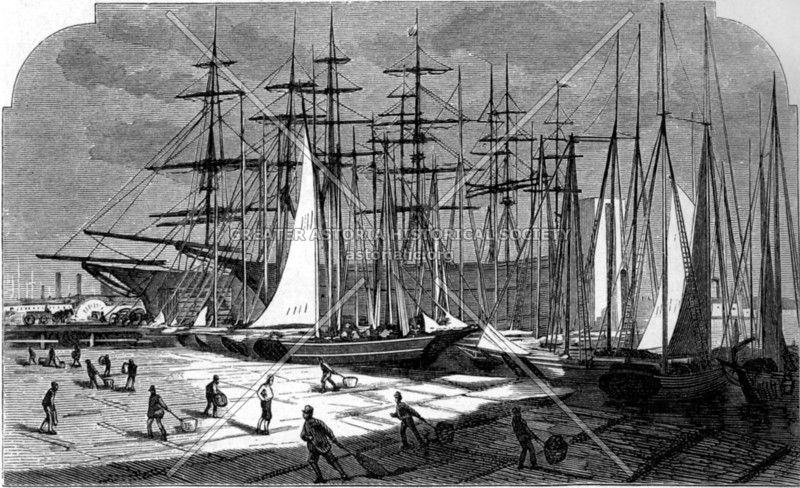 Depiction of a fleet of fishing boats unloading their catch on the East River