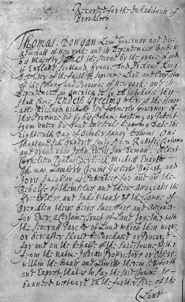 Copy of Governor Thomas Dongan's colonial grant confirming Brooklyn township, 1686