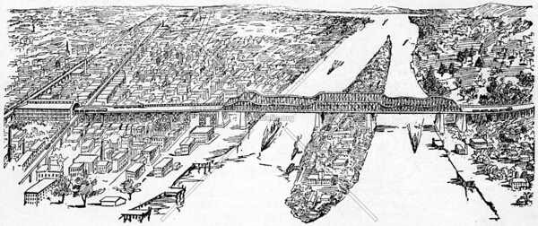 Bird's eye view of the proposed Long Island Railroad Bridge, showing terminus at 64th Street and Third Avenue (1892)