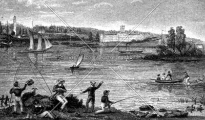 Fishing in Greenpoint at Newton Creek and the East River about 1830.