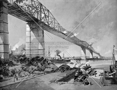Proposed East River Bridge by the Long Island Bridge Company between 77th Street and 34th Ave in Queens.