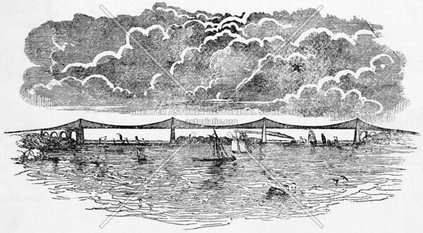 1838 iron hanging bridge over the East River.